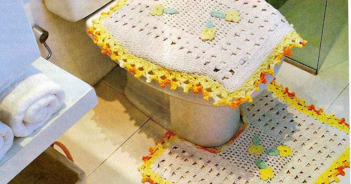 CROCHE COM RECEITA Tapetes em crochê bem simples para o banheiro -> Tapete Banheiro Simples