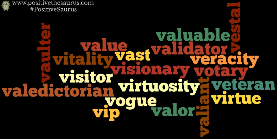 positive nouns that start with v