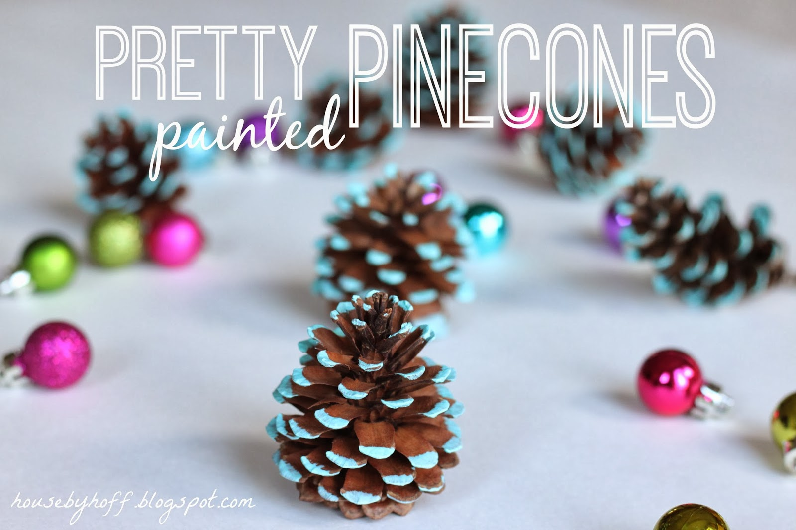 Pretty painted pine cones house by hoff for How to paint pine cones for christmas