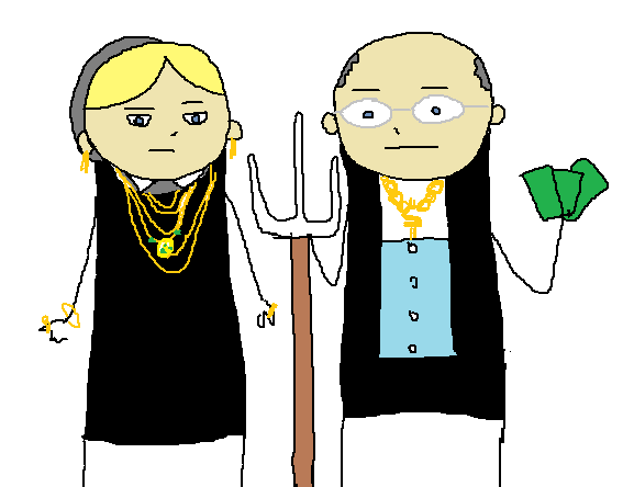 "Cartoon mimicking the ""American Gothic"" painting, only the farmers are wearing bling and the man is carrying a wad of money."