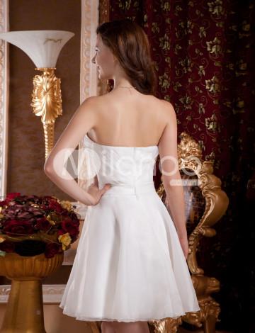 Blanc strass sweetheart robe de retour en organza