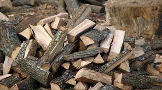 Split wood piled up