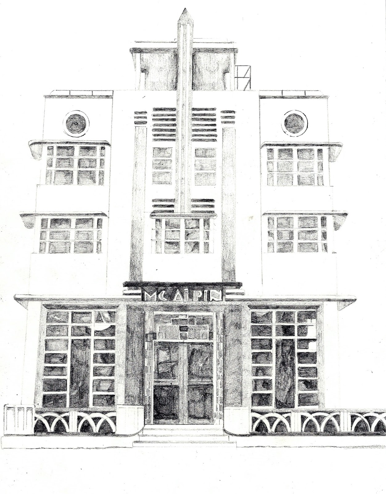 Pencil Sketch A Building Id Like To Visit Art Deco Buildings In Miami