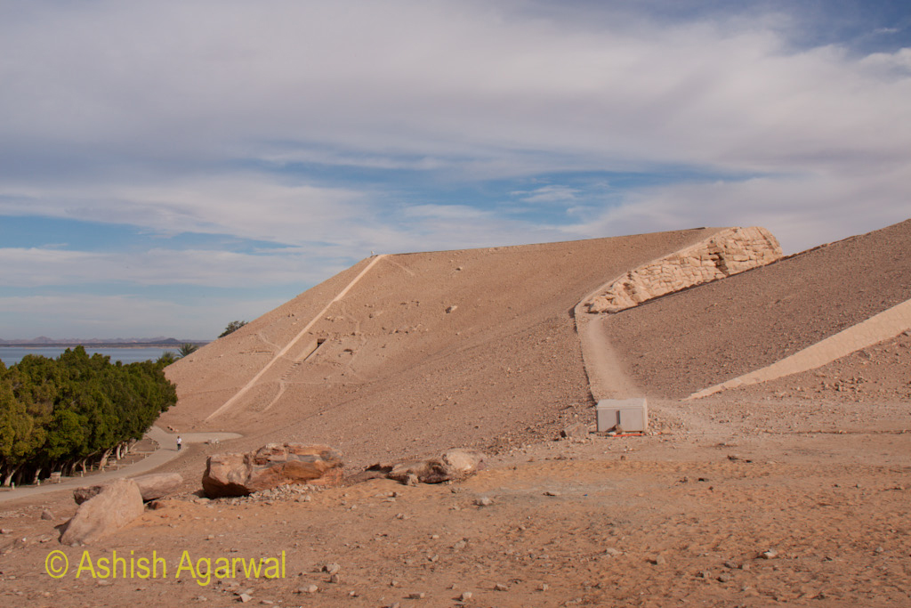 Path around the hillocks hosting the temple of Abu Simbel in Egypt