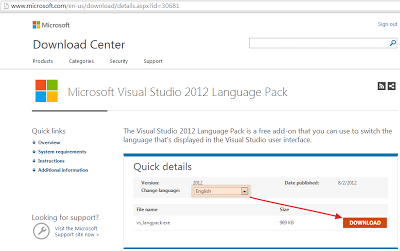 下載Visual Studio 2012語系檔案
