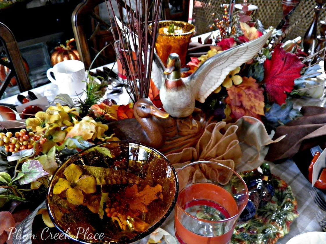 Plumcreek place - Duck, hunt, fall, Thanksgiving tablescape