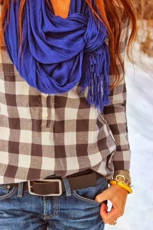 Stylish blue scarf, checked brown shirt and jeans