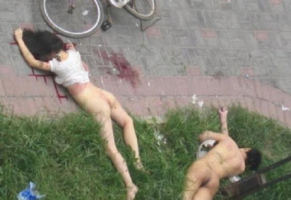corpos nus e ensaguentados do casal que caiu de predio na hora do sexo
