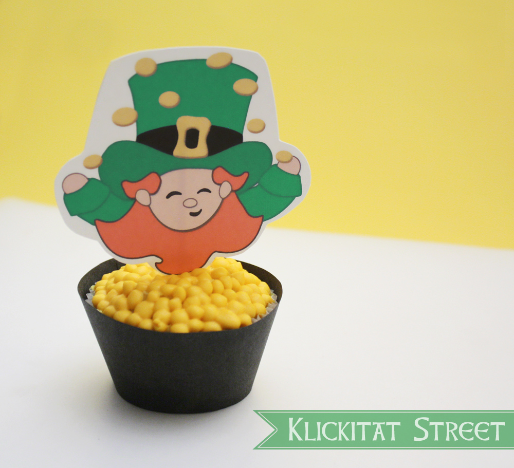 easy pot of gold cupcakes and a free printable klickitat street