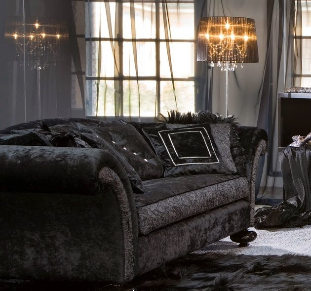 Living rooms decor with black velvet sofa freshnist design - Black accessories for living room ...
