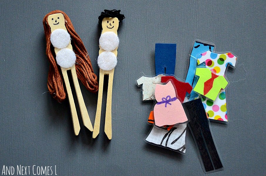 DIY dress up peg dolls {homemade toys for kids} from And Next Comes L