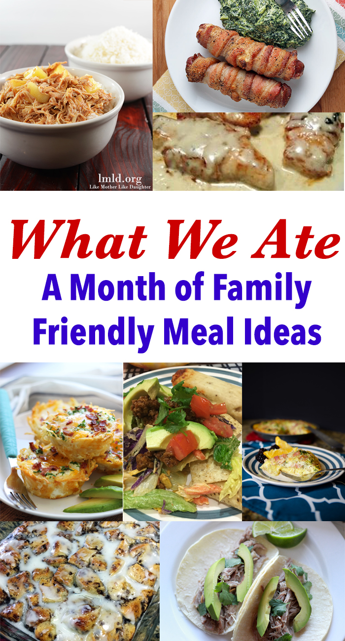 day at a time what we ate this month a month of family meal ideas