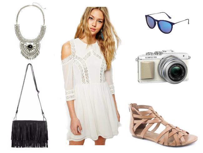 fashion-blog-uk-blog-london-blog-style-summer-wishlist-ootd-white-dress-crochet-dress-cold-shoulder-ASOS-h&m-mint-velvet-olympus-pen-epl7-jones-bootmaker-gladiator-sandal-tan-leather-camera-statement-necklace-silver-black-fringe-bag-topshop-sunglasses-blue-mirror-lens
