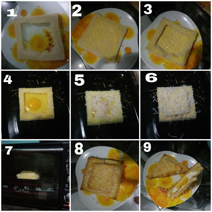 Resep cara membuat sandwich telur dari roti taburan keju