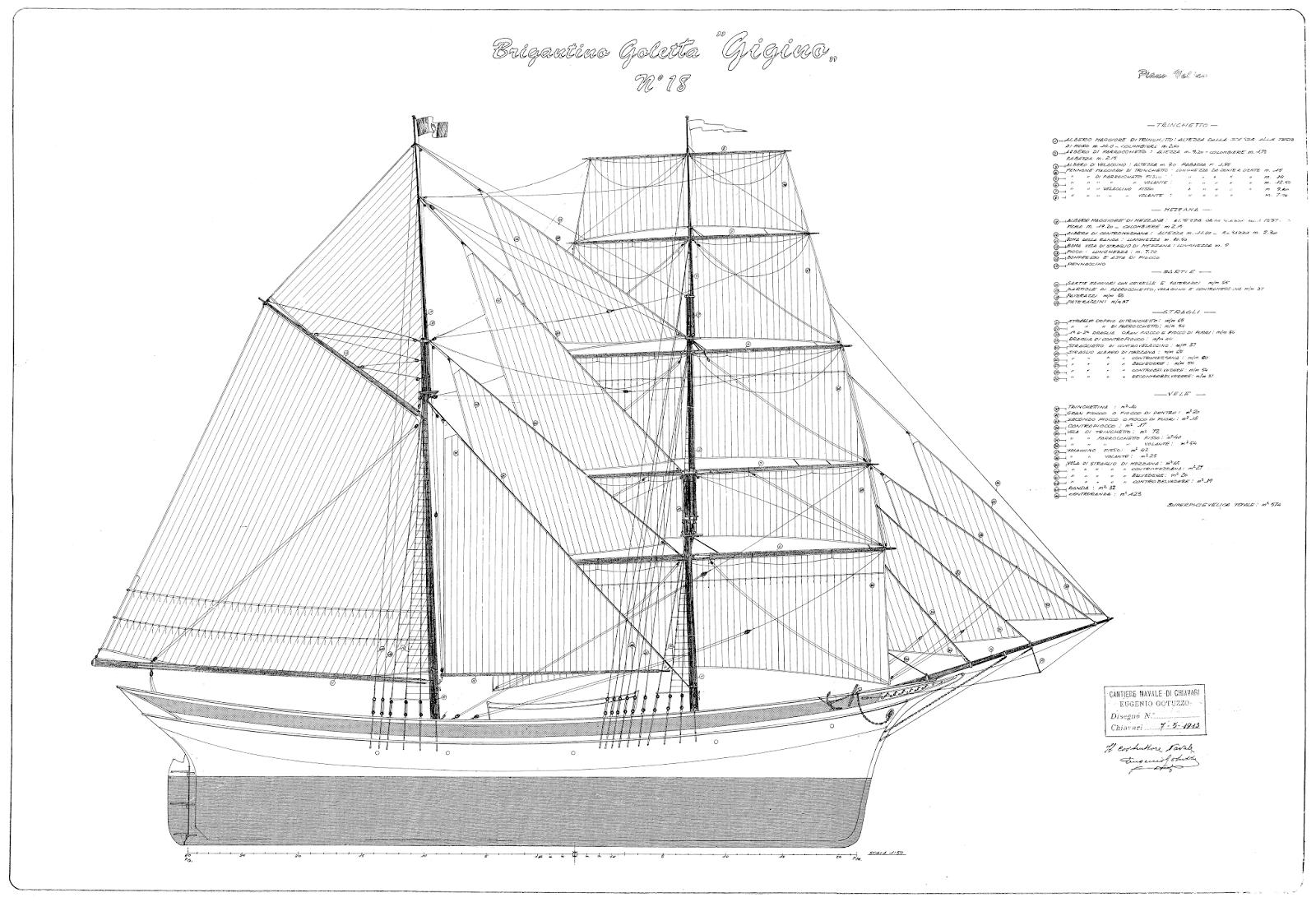 free ship plans, sailing, vessels, brigantine, schooner, Italian 20th century, Gigino
