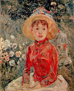Uma Menina de vermelho, com Chapu, de Berthe Morisot