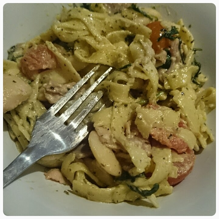 tagliatelle with turkey rashers and butter beans