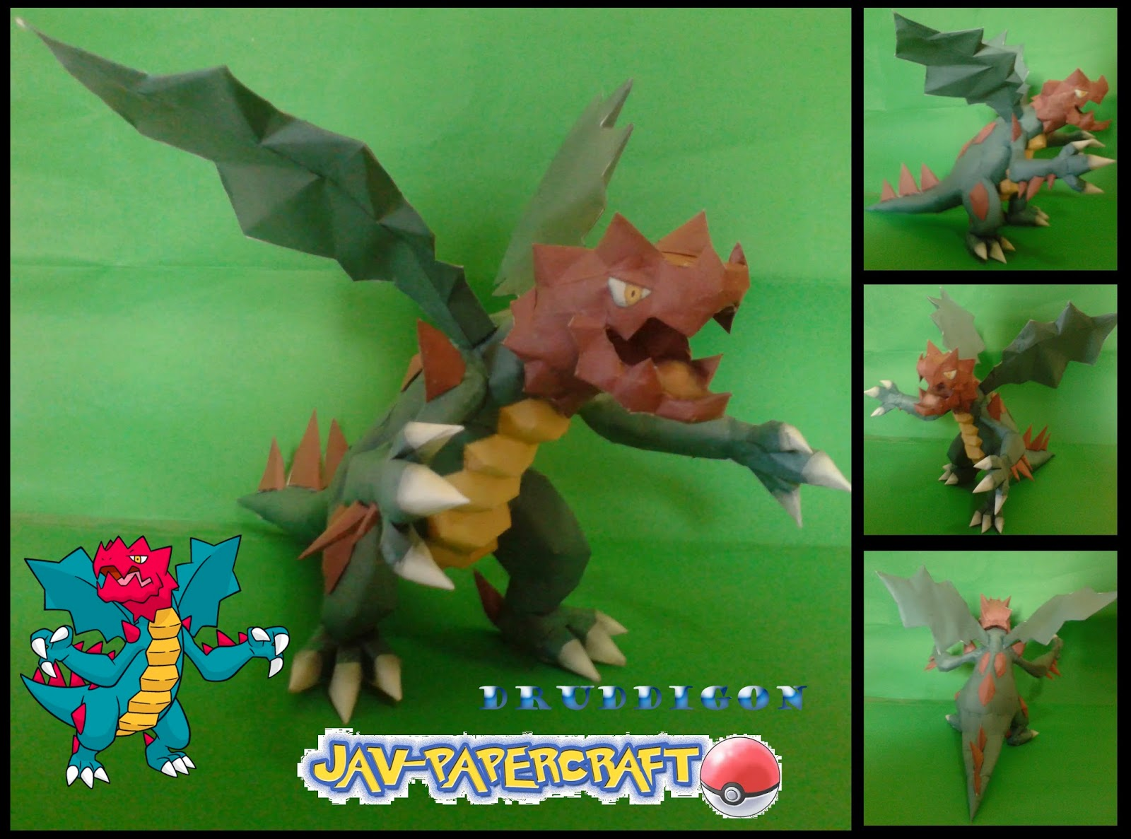 Pokemon Druddigon Papercraft