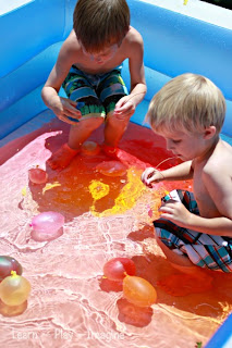 Colored Water Play with Balloons