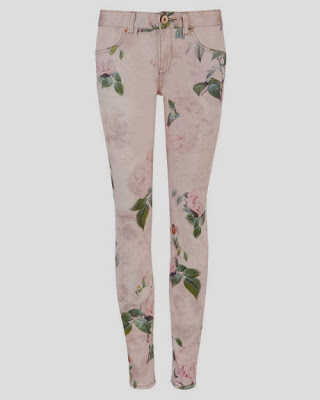 Pink floral print jeans