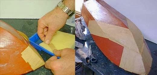 Procedimiento de encolado de tiras de papel sobre el casco de molde