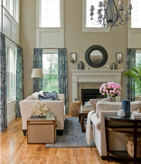 Working with tall ceilings emily a clark Two story living room decorating ideas