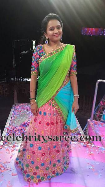 Suma Floral Net Weave Half Sari