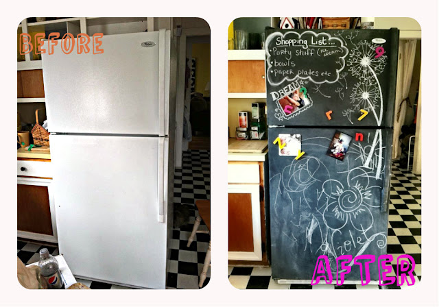 before and after, refrigerator makeover, rustoleum chalkboard paint, how to,  DIY