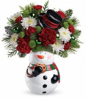 Order the Teleflora Snowman Cookie Jar Bouquet