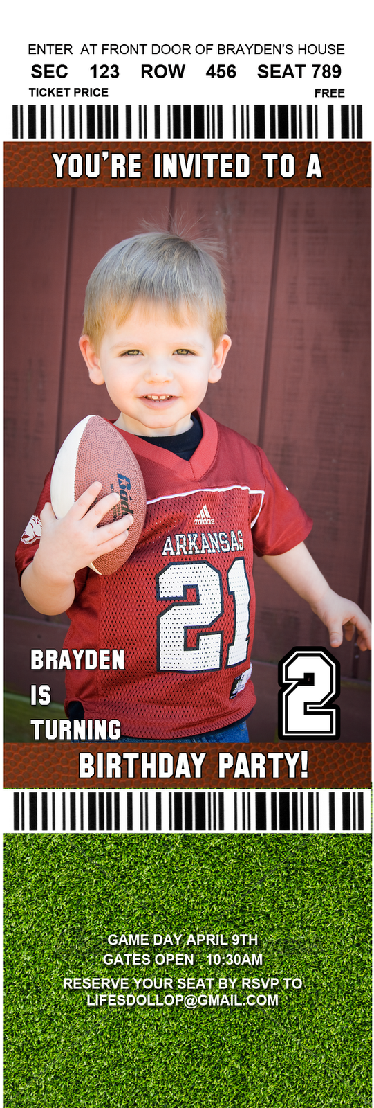 Brayden\'s Big Game: 2 year old birthday party   A Dollop of My Life