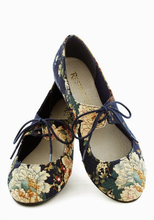 floral navy flats