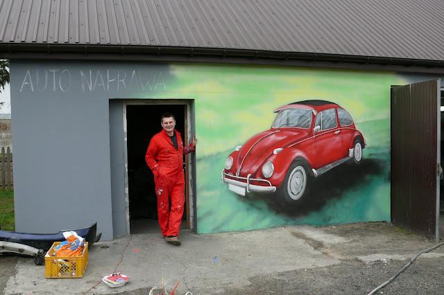 Malowanie VW Garbusa na ścianie, Bydgoszcz, malarstwo ścienne