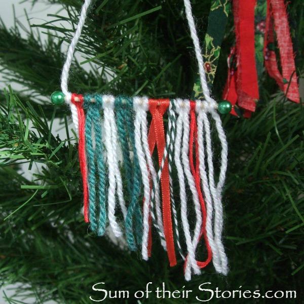 Mini yarn wall hanging Christmas Tree Ornaments