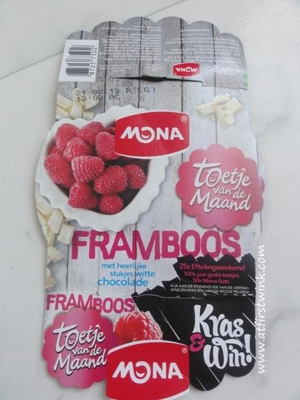 mona toetje van de maand Framboos met heerlijke stukjes witte chocolade