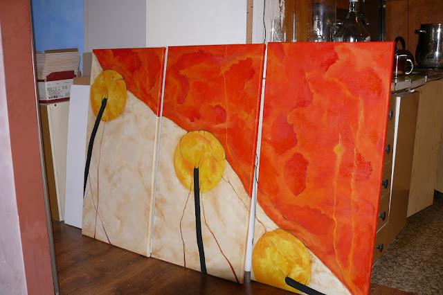 Malowanie abstrakcyjnego obrazu na płótnie, tryptyk abstrakcyjny, cena obrazu na zamówienie