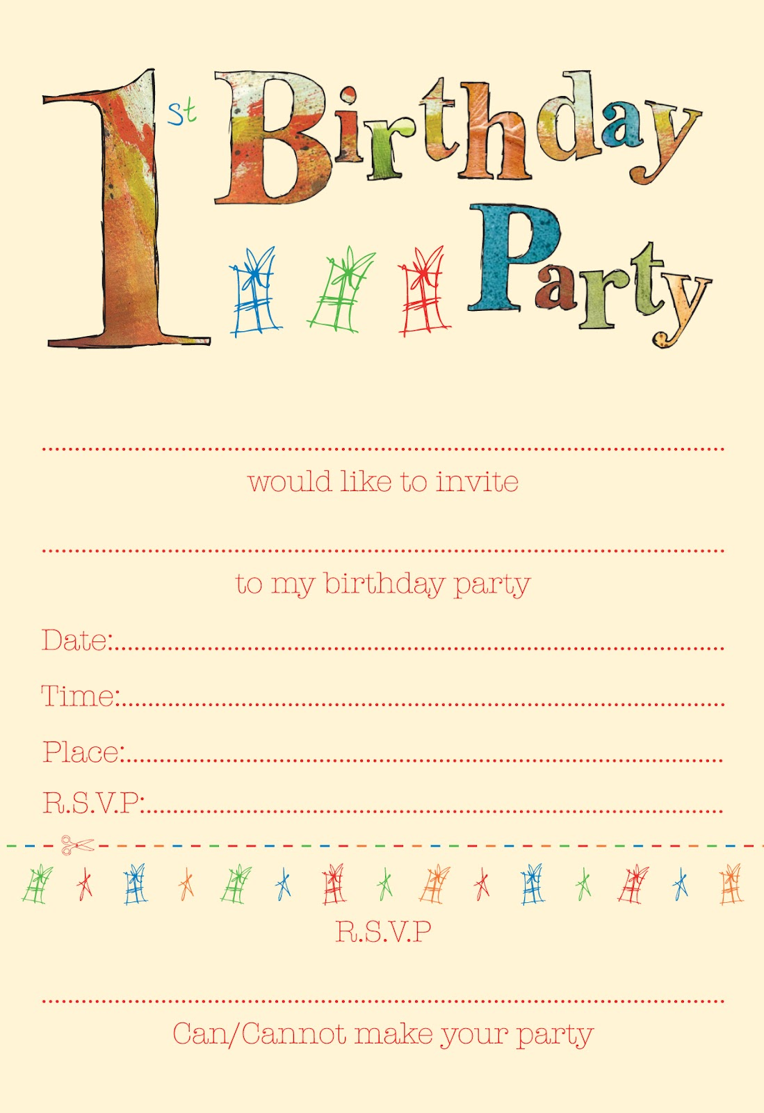 Squashed Rainbows CHILDRENS PARTY INVITES