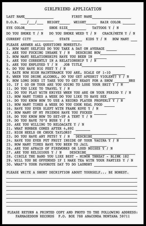 funny dating application questions Application for permission to date my daughter  (if yes to any of these questions, discontinue application and leave the  wanna see some more funny stuff.