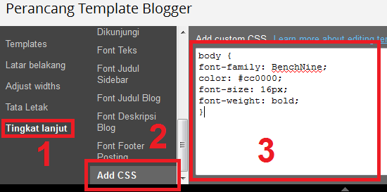 jendela editor CSS