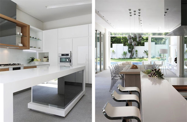 White kitchen furniture of the Modern Luxury House In Johannesburg