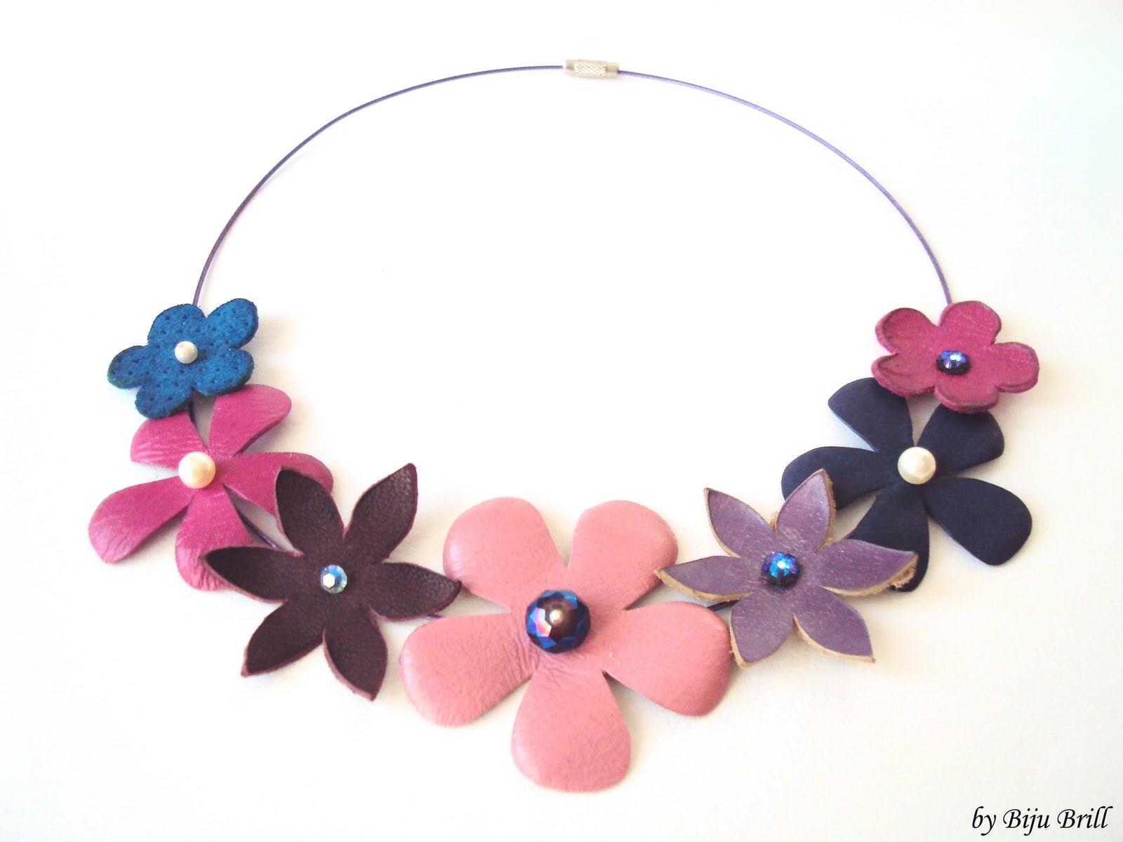 Violet Pink Leather Flowers Bouquet Necklace 65 Ron 16 Bijuill