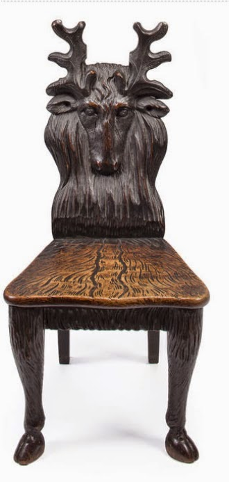 black forest oak hall chair and one of the many deer themed items in the collection