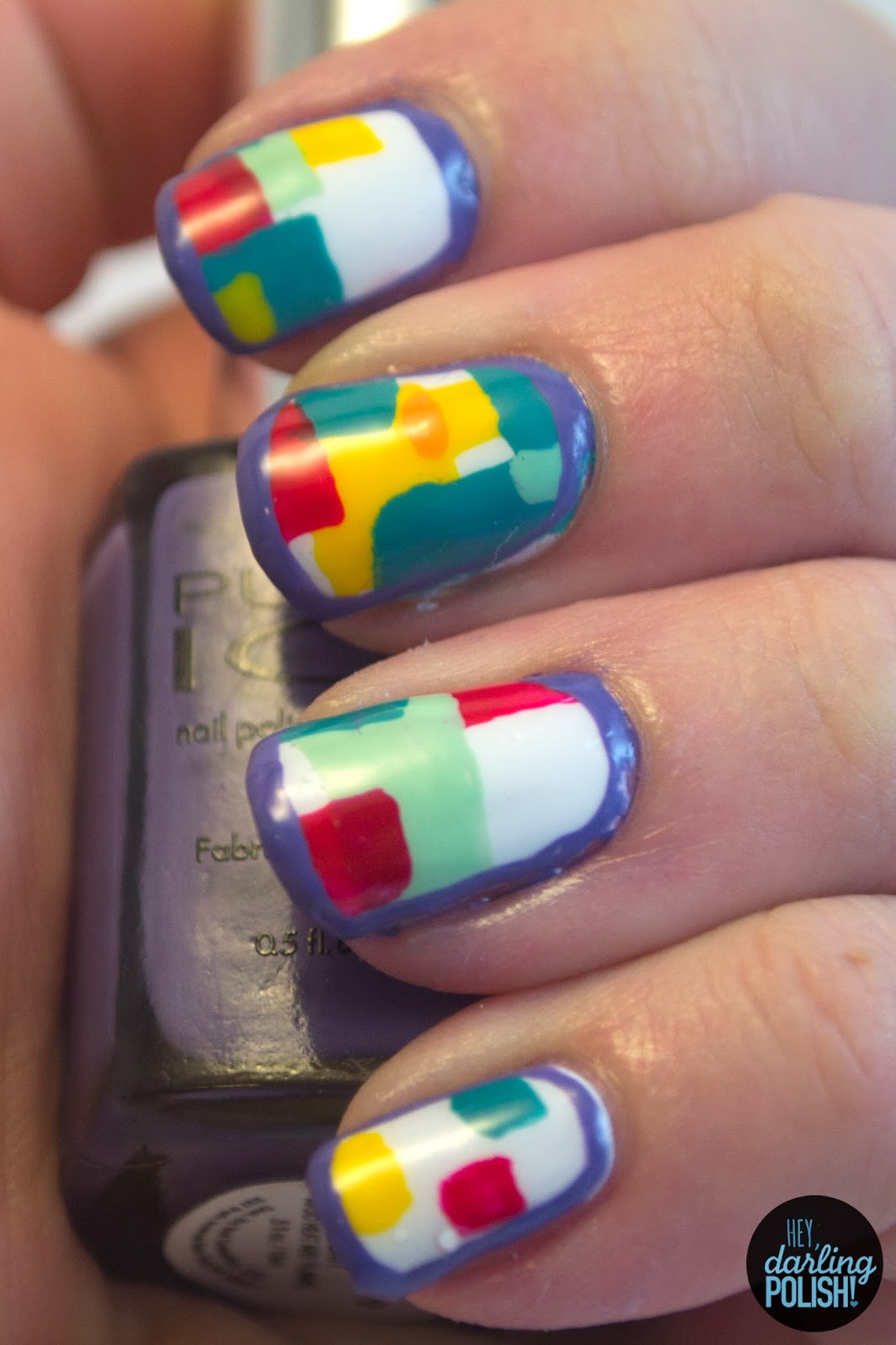 nails, nail polish, nail art, we are the in crowd, guaranteed to disagree, hey darling polish, freehand, blocks, colorful, music monday