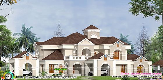 Super luxury villa design in Kerala