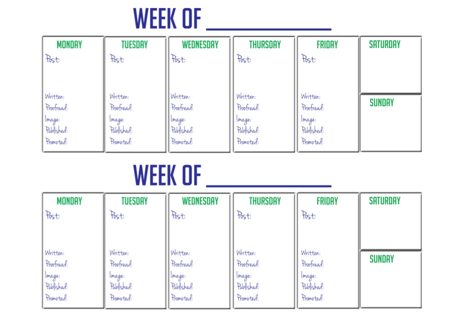 Printable 2 Week Blogger Calendar