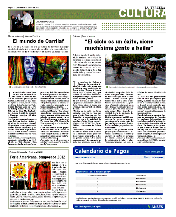 Nota en el diario La tercera¨(Monte grande