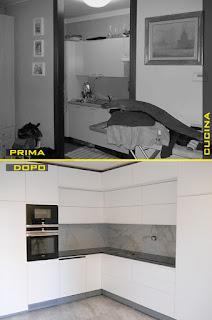 La cucina a vista prima e dopo la demolizione del muro