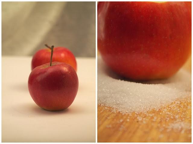 Śnieżne świeczniki z jabłek