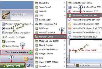 L environnement de travail de microsoft excel 2007 cours for Fenetre word 2013