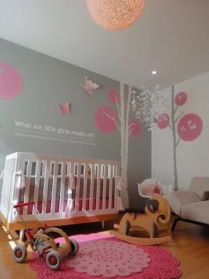 habitación rosa gris bebé