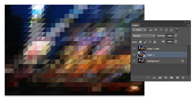 efek pixelate, segitiga, tutorial photoshop, belajar photoshop, efek foto,
